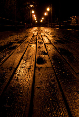 directive: Wooden empty pier illuminated at night