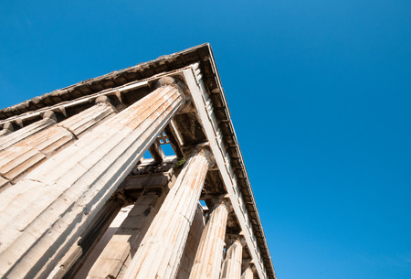 greek columns: Ancient Greek columns from the Temple of Hephaestus in Athens Greece with copy space for text. Stock Photo