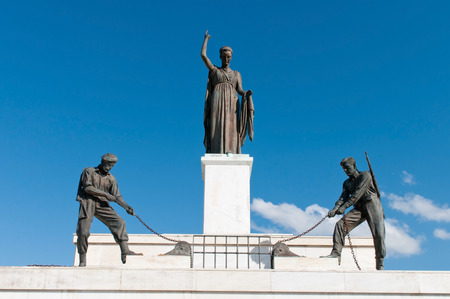 Bronze Statues on the liberty monument in the city of Nicosia in Cyprus.  The monument was erected in 1973 and it symbolises the Greek Cypriots  struggle for independence from 1955 ? 1959