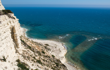 the crag: Calm  Seascape for the edge of a dangerous crag at Limassol area in Cyprus