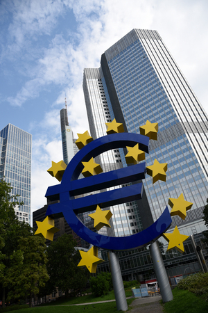 central european: Frankfurt, Germany, September 1, 2015: Euro currency symbol  statue near European central bank  in Frankfurt am Main city in  Germany