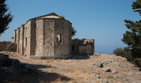 distric: Exterior of the abandoned orthodox monastery of Saint Paraskeyi at the mountain of Pentadaktylos in the village of Vasilia at Kyrenia distric in Cyprus.