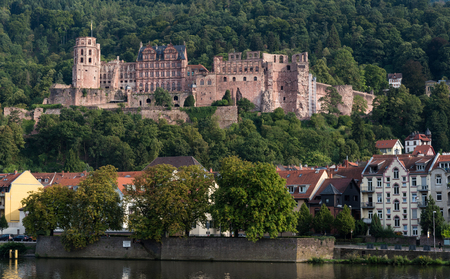 european community: Cityscape of the historical town of Heidelberg in Germany with the castle Editorial