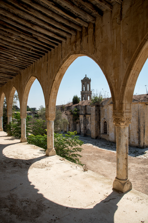 panteleimon: Exterior view of the abandoned orthodox monastery of Saint Panteleimon at the village of Myrtou in Cyprus