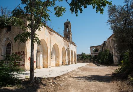 panteleimon: Exterior view of the abandoned orthodox monastery  of Saint Panteleimon at the village of Myrtou in Cyprus Stock Photo