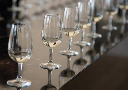 wine testing: Wine glasses in a row filled with white dry wine ready for wine testing