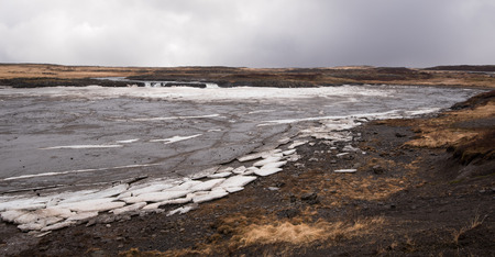 frozen lake: Frozen lake with big ice cubes in the island of Iceland early in spring time Stock Photo