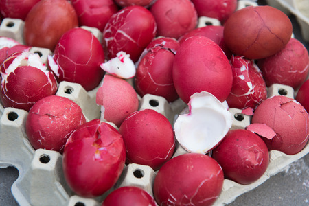leftovers: Leftovers of red easter eggs after cracking competition.