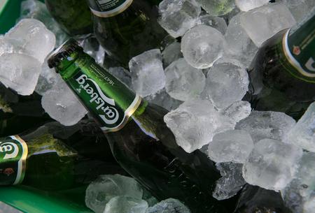carlsberg: Nicosia, Cyprus - May 7 2016: Small green bottles of famous Carlsberg beer on ice