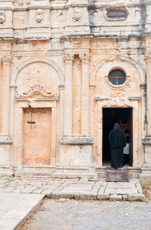 Famous Greek monastery of Arkadi with an unrecognized church walking in the church in Rethymno area,  Crete Island, Greece