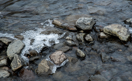 thin ice: River water flowing between small stones covered with a thin layer of Ice creating a serene nature background