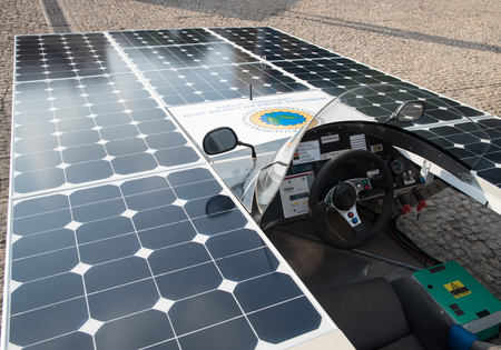 prototypes: Nicosia,, Cyprus, June 25 2016: Solar powered prototype car ready to  parade to awake people for the benefit of renewable energy  in the streets  of Nicosia Cyprus.