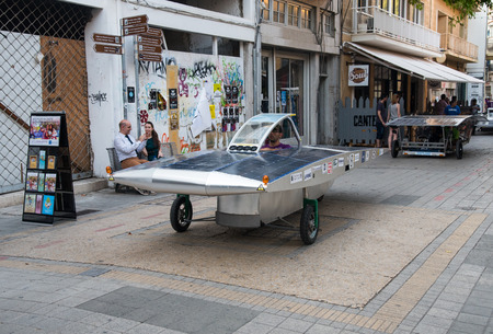 prototypes: Nicosia, Cyprus, June 25 2016: Solar powered cars parading to awake people for the benefits of the use of renewable energy during the anual event in the streets of Nicosia in Cyprus Editorial