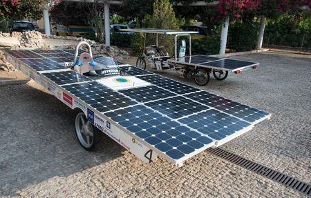 prototypes: Nicosia,, Cyprus, June 25 2016: Solar powered prototype cars ready to parade to awake people for the benefit of renewable energy  in the streets  of Nicosia Cyprus.