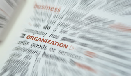 glossary: Definition of the dictionary word of Organization.  Business concept . Stock Photo