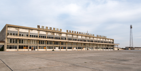 aerodrome: Nicosia, Cyprus - November 22 2016: Exterior view of the abandoned building of Nicosia International airport located in the buffer zone  in Cyprus