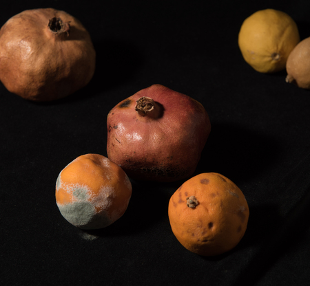 Punch of mouldy unhealthy fruits including pomegranate, lemons and oranges