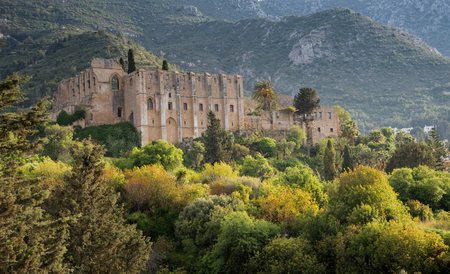 Famous Bellapais abbey at Kerynia distric in Northen Cyprus 版權商用圖片 - 77113293