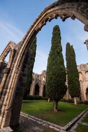 archaeological: Famous Bellapais Abbey at Kerynia area in Northern Cyprus Stock Photo