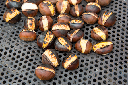 Healthy roasted chestnuts of the chestnut tree