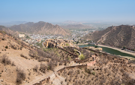 Amer city in the desert of Rajastan from the hills of Jaigarh fort in Jaipur India.