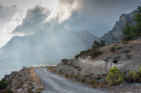 Mountain  landscape with the five finger mountain, Pentadakylos at Kerynia area in Northern Cyprus