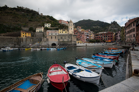 Vernazza, Italy - October 5 2017: Picturesque and touristic beautiful village of Vernazza at CinqueTerre area in Toscany Italy Picturesque beautiful village of Vernazza at CinqueTerre area in Toscany Italy Editorial
