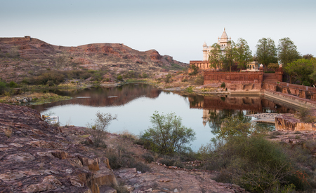 Landscape at the area of the famous Jaswant Thada mausoleum in the city of Jodhpur at the state Rajasthan India.