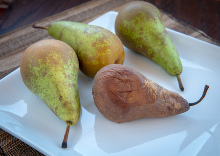 Group of melted and fresh pear fruits on a white plate. The melted fruit is unhealthy for eating.
