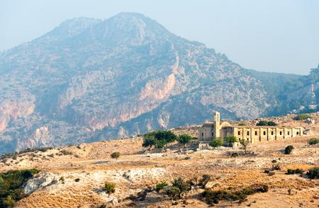 Abandoned and deserted monastery of Panayia Katharon at Pentadakylos mountains in Northern Cyprus Stock Photo