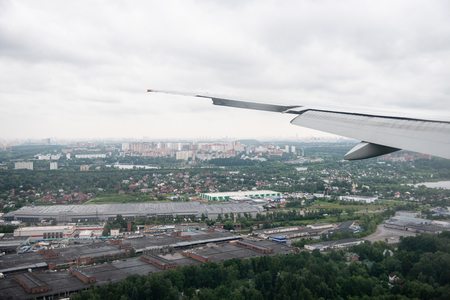 Aerial view of the city of Moscow from an airplane just before landing