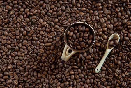 Fresh Coffee  brown beans ready to make delicious cup of coffees Stock Photo