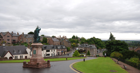 Cityscape of Inverness in Scotland Highlands with the Flora MacDonald famous statue