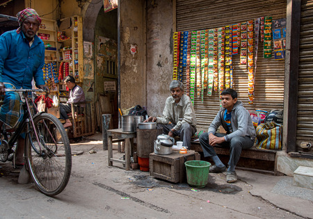 New Delhi, India, March 10 2017: Small home business on the streets of the of New Delhi city in India.