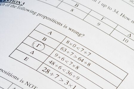 Mathematics problem solving with exam paper questions on a paper and a pencil. Stok Fotoğraf