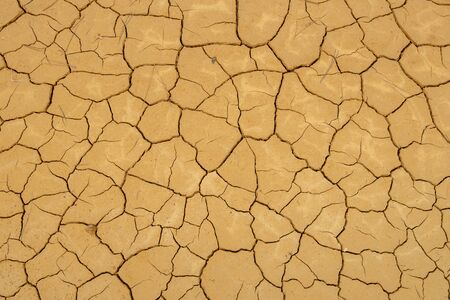 Yellow cracked ground dry land against cloudy sky. Global warming concept Stockfoto