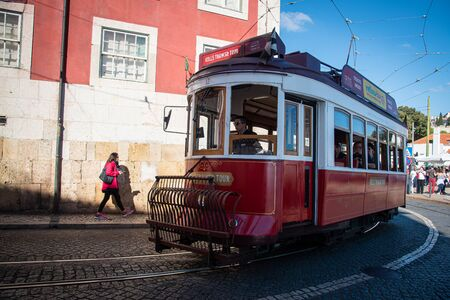 Lisbon, Portugal, October 20 2018 : Traditional local transportation tram at alfama area at Lisbon city in Portugal