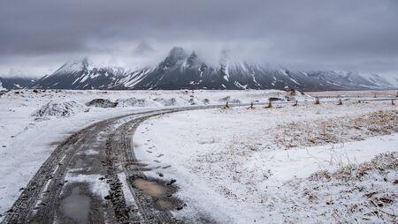 Typical Icelandic snowy nature mountain landscape near Arnarstapi area in Snaefellsnes peninsula in Iceland
