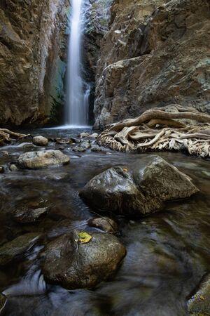 The beautiful waterfalls of Millomeri at Platres village Troodos mountains Cyprus