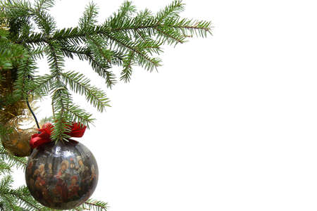 merry time: Christmas balls on christmas tree, isolated on white background
