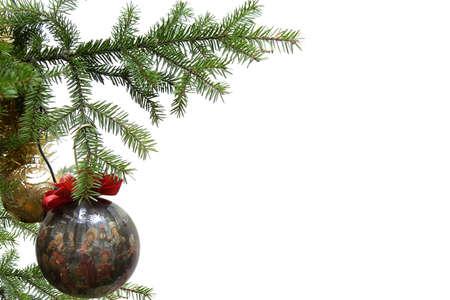 Christmas balls on christmas tree, isolated on white background