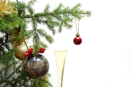 Christmas balls on christmas tree, isolated on white background photo