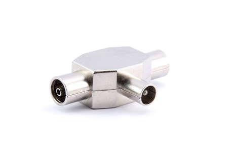 TV antenna coupler on white photo