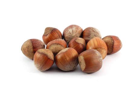 dado: Hazelnuts , isolated on white background Stock Photo