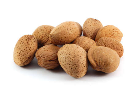 pekan: Almonds , close up,  isolated on white background