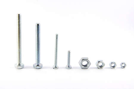 Screw bolts and nuts, isolated on white