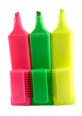 Colorful highlighter pens isolated over a white background.  Stock Photo