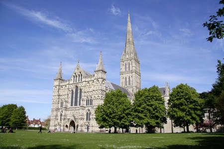 View of Salisbury Cathedral in England  photo
