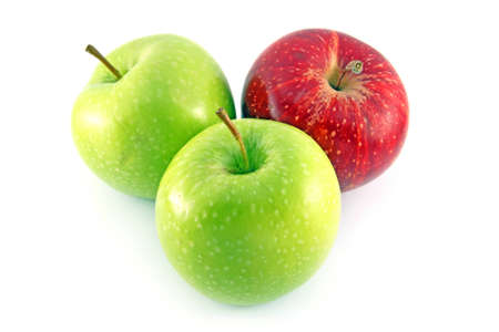 Red and green apples isolated on white Stock Photo