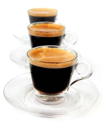 Espresso in a transparent cups on the white background